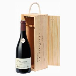 Упаковка Бизнес  vignobles_brunier_wooden_box_with_sliding_lid_bottle_of_wine_la_roquete